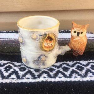 Vintage 70s Momma Owl and Babies Tree Nest Mug